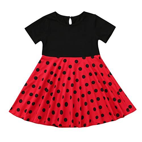 Livoral Mädchen Prinzessin Kleid Kinder Retro Kleid Polka Dot Prinzessin Swing Land Rock Party Kleid(Rot,XX-Large)