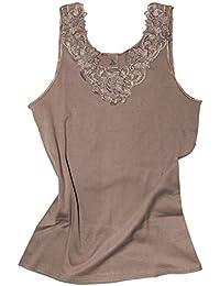 Camiseta para mujer, de algodón peinado con encaje extragrande, sin costuras laterales