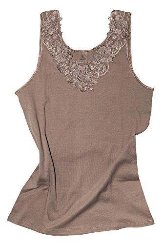 Damen Shirt, Unterhemd Gekämmte Baumwolle mit extra großer Spitze Ohne Seitennaht (48/50, Taupe)