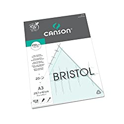 Canson Bristol 250gsm Paper, High-white & Ultra-smooth, A3 Pad Including 20 Sheets