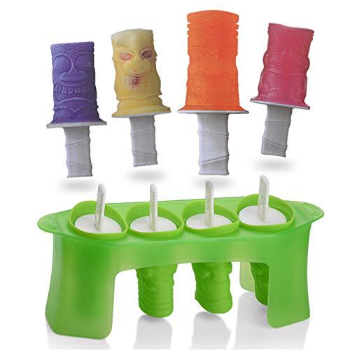 3D Zombie Eisform, Silikon-Eis Am Stiel-Formen, DIY Gefrorene Eiscreme-Knall-Formen-Eislutscher-Hersteller, Wiederverwendbare Schneemann Popsicle Formen, 4 Köpfe Mit Ständer,Green (Zombies Würfel)