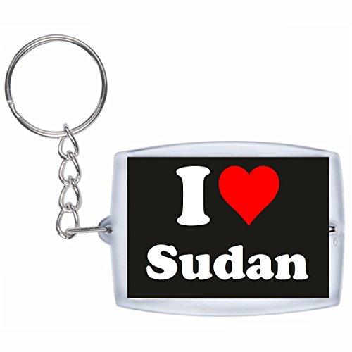 """Preisvergleich Produktbild Exklusive Geschenkidee: Schlüsselanhänger """"I Love Sudan"""" in Schwarz, eine tolle Geschenkidee die von Herzen kommt - Rucksackanhänger- Weihnachts Geschenktipp"""