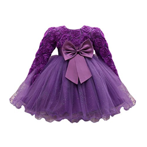 Huhu833 Baby Kleid Blume Baby Mädchen Prinzessin Kleid Brautjungfer Pageant Kleid Geburtstag Party Brautkleid (Violett, 18M-90CM)