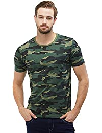 4a45a3b32 Wear Your Opinion Men's Camouflage Army Military Half Sleeve Round Neck  T-Shirt