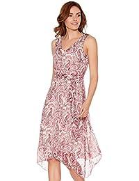 Women's Clothing M & S Midi Skirt Uk 16 100% Linen Elasticated Waist Tie Belt Pink Floral Print