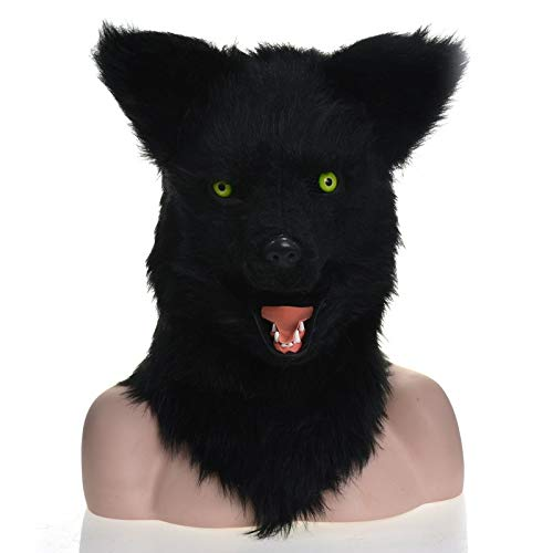 KX-QIN Serie Fursuit Karneval Moving Mouth Mask Black Wolf Simulation Tiermaske Deluxe Neuheit Halloween Kostüm Party Latex Tierkopf Maske for Erwachsene und Kinder (Color : - Kostüm Wolf Nase