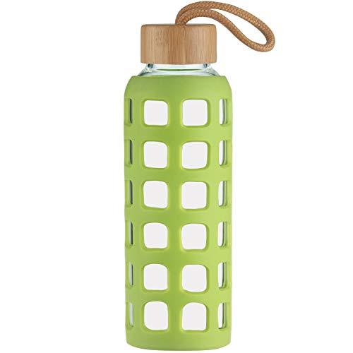 Cleesmil Sport Trinkflasche Glas Wasserflasche mit Silikonhülle mit Bambus Deckel 360 ml (Grasgrün)