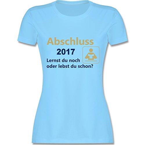 Abi & Abschluss - Abschluss 2017 - Lernst du noch oder lebst du schon? - tailliertes Premium T-Shirt mit Rundhalsausschnitt für Damen Hellblau