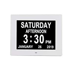 "[Newest Version] Digital Day Calendar Alarm Clock- 8 Alarms,Non-Abbreviated Day & Month Memory Loss,Dementia,Alzheimer's Vision Impaired Clock for Elderly/Seniors (8"" White)"