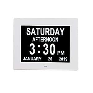 "[Newest Version] Digital Day Calendar Alarm Clock- 8 Alarms,Non-Abbreviated Day & Month Memory Loss,Dementia,Alzheimer's Vision Impaired Clock for Elderly/Seniors (8"" White)"