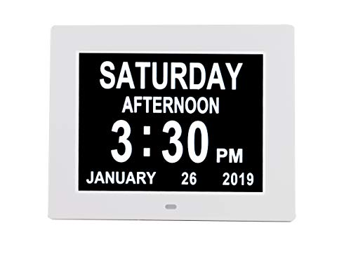 [Newest Version] Digital Day Calendar Alarm Clock- 8 Alarms,Non-Abbreviated Day & Month Memory Loss,Dementia,Alzheimer's Vision Impaired Clock for Elderly/Seniors (Memory Clock)