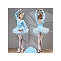 Hopereo Girls Ballet Dance Wear Dress Kids Cotton Tutu Ballet Skirt Gymnastics Leotard Beautiful Costume,Sky Blue,110Cm