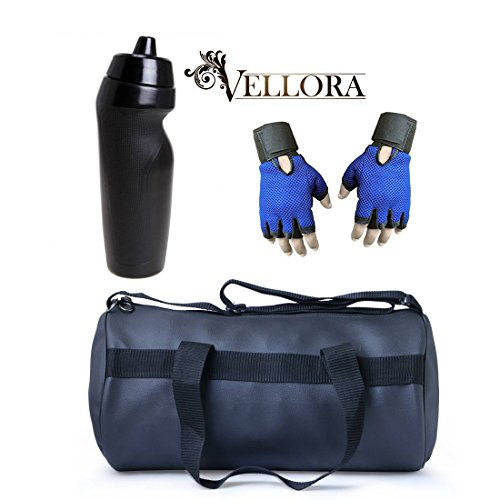 VELLORA Soft Leather Duffel Gym Bag (Black) With Penguin Sport Sipper, Gym Sipper Water Bottle And Blue Color...