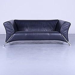 Rolf Benz 322 Designer Sofa Blau Leder Zweisitzer Couch Modern #4760