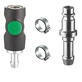 Auprotec® Druckluft Schnellkupplung Set mit Prevost Sicherheitskupplung 10mm Nippel + Schellen