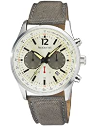 Accurist Men's Quartz Watch with White Dial Chronograph Display and Green Nylon Strap Ms611Gr