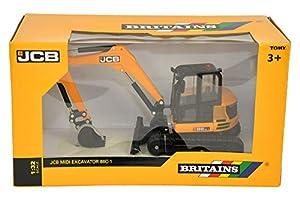Britains - Excavadora Midi JCB, Color Amarillo y Negro (Tomy 43013)