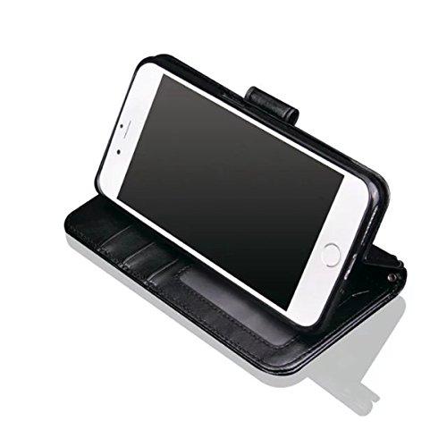 iPhone 7 Plus Coque, Apple iPhone 7 Plus Coque, Lifeturt [ Rouge ] [book-style] Flip Case Coque en PU Cuir Housse de Protection Étui à rabat Case Cover Ultra Slim Portefeuille PU Cuir avec stand de Ca E02-Noir5787