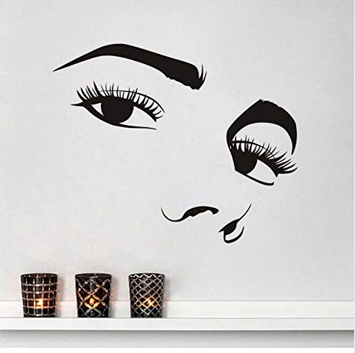 LGXINGLIyidian Black Big Sexy Eyes Wall Sticker Charming Girls Long Eyelashes Decals for Bedroom Living Room Home Decor Makeup Art Murals (America Girl Make-up Captain)