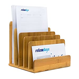 Relaxdays Document Holder Bamboo With Letter Tray 23 x 24.5 x 20.5 cm Practical Organization System For Your Desk Table Magazine, Document, Paper Holder, natural