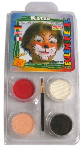 Eulenspiegel 204177 - Schminkset Katze, Pinsel und Anleitung, 4 Farben