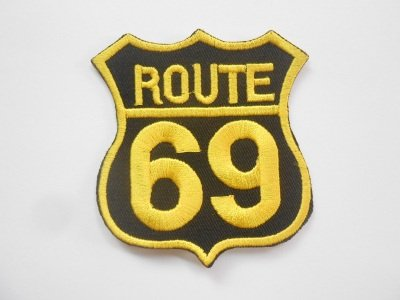 Parche de la Ruta 69, negro y dorado, par moto o chaqueta,...