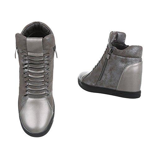 Chaussures femme Bottes et bottines Compensé Bottines compensees Ital-Design argent noir