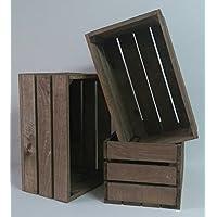 Pack 3 cajas madera tono envejecido 50x30x25