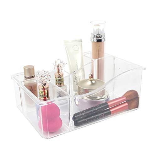 OUNONA Schublade Veranstalter Make up Bad Lagerung Acryl Pinsel Kosmetik Palettenhalter für Arbeitsplatte 6 Abschnitt Fach für Schlafzimmer Badezimmer Kosmetikorganiser