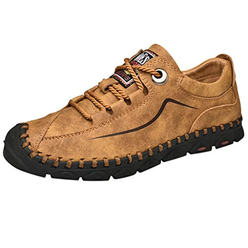 Yearnly Herren Outdoor Casual Leder Schuhe Rutschfeste Schnür-Verschleißfeste Schuhe Große Runde Lederschuhe Erbsen Schuhe Atmungsaktive Business-Lederschuhe Mode Retro Einzelne Schuhe (5 Retro Air Gelb Jordan)