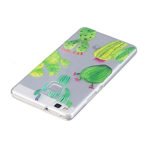 Cover Huawei P9 Lite, Custodia Huawei P9 Lite Cover Trasparente , Cozy Hut Ultra Slim Protective Cover Silicone per Huawei P9 Lite Smartphone, Telefono Cover Sottile Morbido Trasparente Silicone Gel T cactus