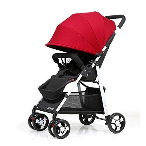WYNZYYESTC El Cochecito Plegable, Se Puede Sentar Reclinable Plegable Shock Baby Umbrella Child Baby Stroller Adecuado Para Niños De 0 A 5 Años De Edad Opcional (color : Red)