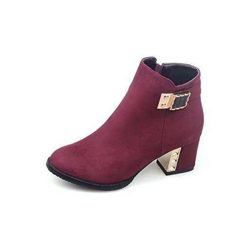 balamasa-ladies-chunky-heels-metal-ornament-zipper-red-frosted-boots-35-uk