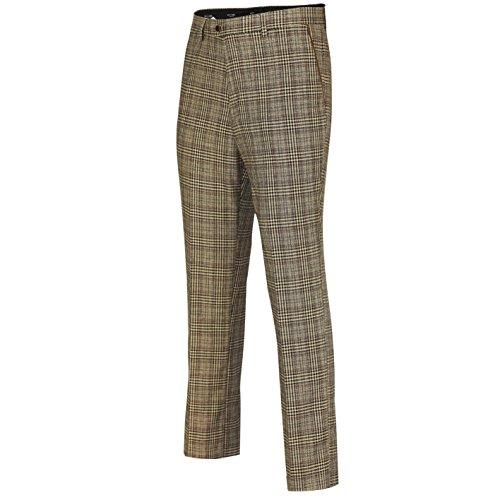Xposed Herren Zweireihig Fischgrät Retro Low U Cut Style Weste Vintage, Trouser-Light Oak Brown, Gr.-Taille 32 - Fischgrat Weste
