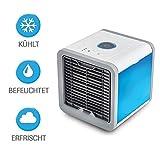 3in1 Mini Air Cooler | Tischventilator | Mobile Klimaanlage | Aircooler | Klimagerät Klima tragbar | Ventilator | Luftbefeuchter | 3 Leistungsstufen | 7 Stimmungslichter
