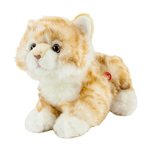 Teddys Rothenburg Kuscheltier Katze mit Stimme 30 cm (mit Schwanz) liegend rot/weiß getigert Plüschkatze