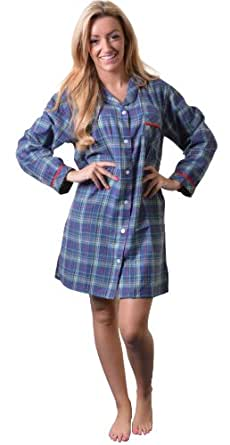 Quality 100% Combed Cotton Nightshirt in Pretty Blue/Green Tartan, X Large