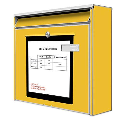 Burg Wächter Design Briefkasten | Postkasten 36 x 32 x 10cm groß | Stahl weiß verzinkt mit Namensschild | großer A4 Einwurf, 2 Schlüssel | Motiv Briefkasten Gelb