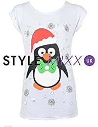 03ac6461212 STYLE MIXX Womens Xmas Penguin Rudolph Snowman Vest Top Christmas TShirt  Gift (S M - UK 8-10