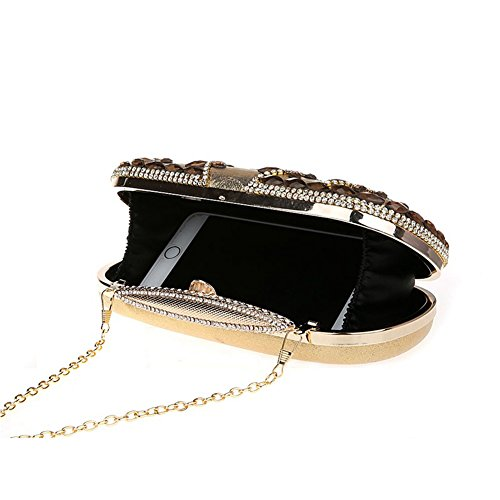 Flada Womens PU Leather Evening Clutches Strass Kristall Handtaschen für Wedding Party Black Gold