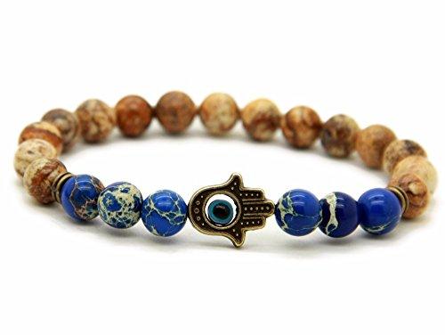 'good. Designs main de fatma–Bracelet de Perles en différentes pierres naturelles, de l'énergie Bracelet avec pendentif Hamsa, «Dans vos mains