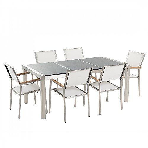 Gartentisch aus Edelstahl – Platte Granit dreifach grau poliert 180 cm mit 6 Stühlen aus weißem Textil