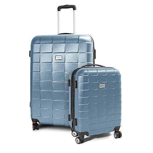 BERWIN Kofferset M + XL 2-teilig Reisekoffer Trolley Hartschalenkoffer ABS Teleskopgriff Modell Squares (Türkis)