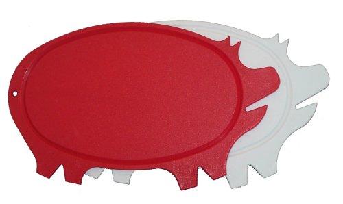 Pig Shaped Cutting Board (Linden Sweden-Daloplast Pig Shaped Cutting Board, White/Red, Set of 2)