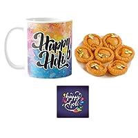 """YaYa Cafeâ""""¢ Holi Sweets Gift Combo Happy Holi Mug, Coaster, Chandrakala - 1kg"""