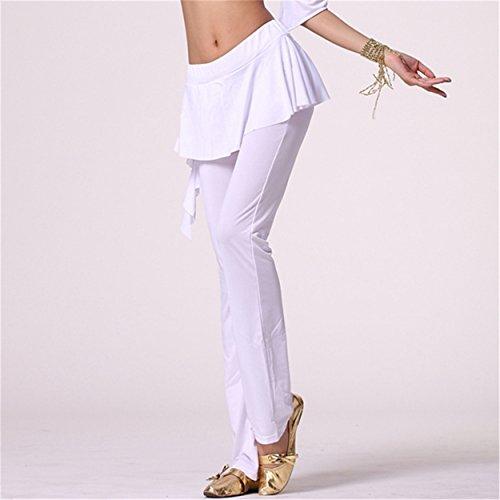 Donne Le signore Culottes Danza Pantalonis Fitness Workout Pantalonis Elastic Lycra Pantalonis White