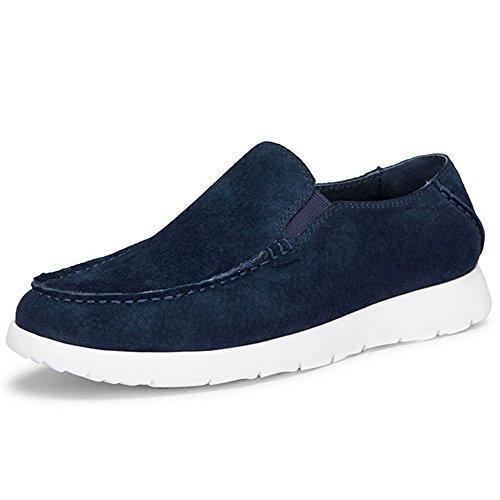 OZZEG En cuir véritable bateau pont plat masculine chaussures mocassins Bleu Marine
