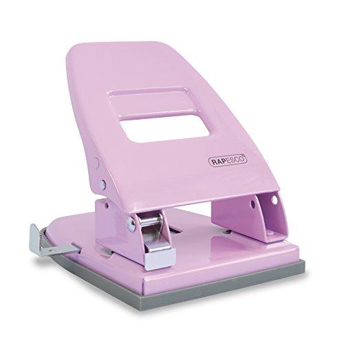 Rapesco 1388 2-fach Retro Locher, 30 Blatt, Bürolocher Kraftlocher, rosa metall