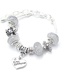 'Silver Sparkle' First Holy Communion Charm Bracelet For Girls With Communion Card