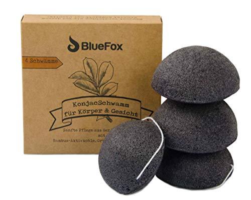 BlueFox Konjac Schwamm 4er Set Bambus Aktivkohle, Gesichtsreinigung für unreine und Mischhaut, Gesichtspflege, Schminke, bio facial sponge, Peeling der Haut, reine Poren, Reinigungsschwamm, schwarz